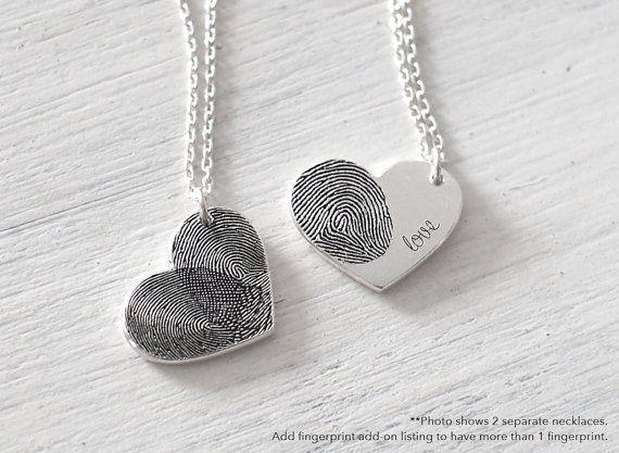 Custom Actual Fingerprint Heart Necklace by GracePersonalized