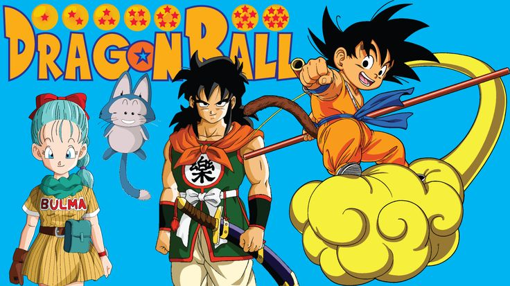 A wallpaper I decided to create (size: 1366x768). The dragon bals I created myself. The font is downloaded from dafont and is called Saiyan Sans. The images of Goku, Bulma, Yamcha and Puar are taken from Google Images and traced in Illustrator using Image Trace.