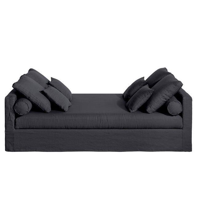 Canapé fixe Axel, lin froissé