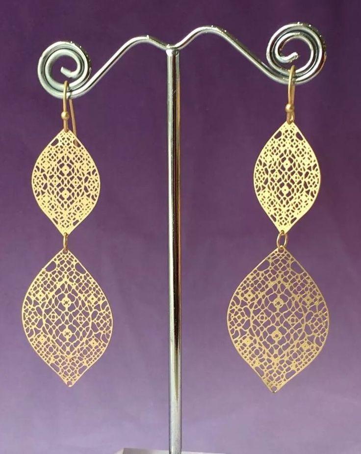 """Earrings Filigree Double Teardrop Gold 2 5 8"""" Drop Trendy Fashion Jewelry   eBay"""