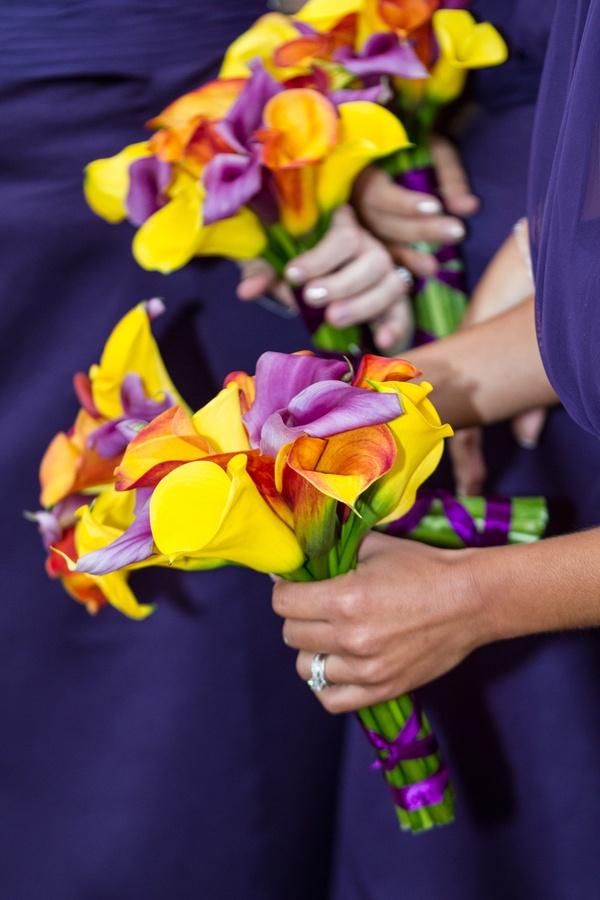 vibrant calla lily bridesmaid bouquets