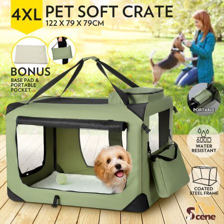 Portable+Foldable+Soft+Dog+Crate-4XL-Army+Green