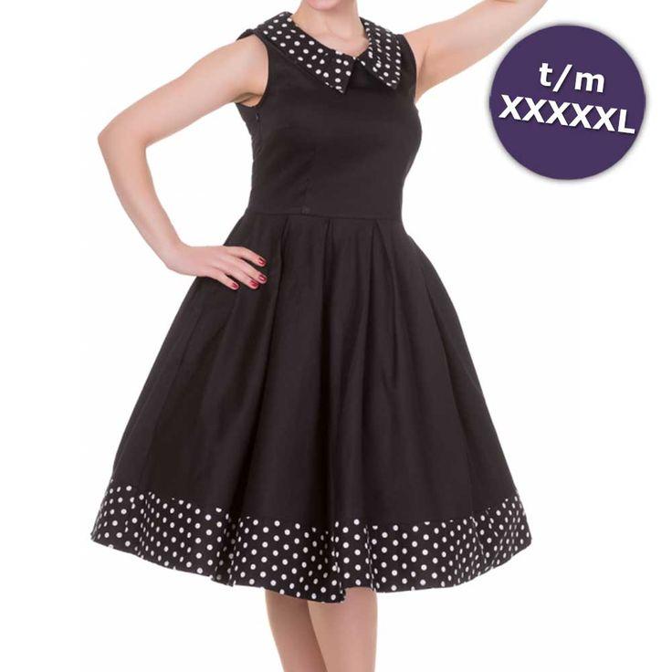 Swing Hazel jurk met polkadot stippen bij zoom en kraag zwart/wit - Vintage 50's…
