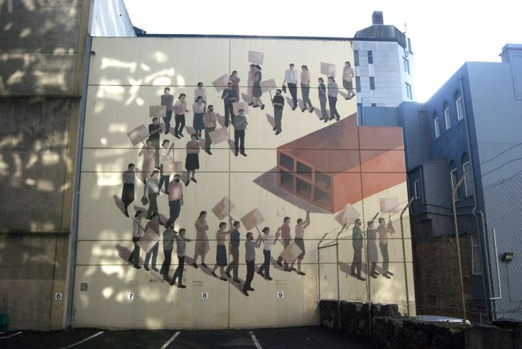 """Dunedin, New Zealand, 2015 for Dunedin Street Art.   abr 26, 2015 The area the building wall is located in is between the area known as 'The Exchange' and that known as the 'Warehouse Precinct'. The Exchange was earlier the city's commercial hub. The wall is located on a juncture between the two """"worlds"""" – both of which were negatively impacted by the changing economy. Over time both areas declined, lost its hustle and bustle and many buildings were demolished."""