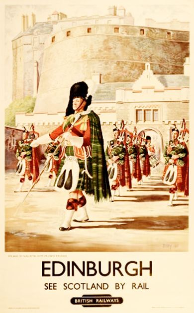 Vintage poster ~ Edinburgh British Railways Royal Scots, 1951