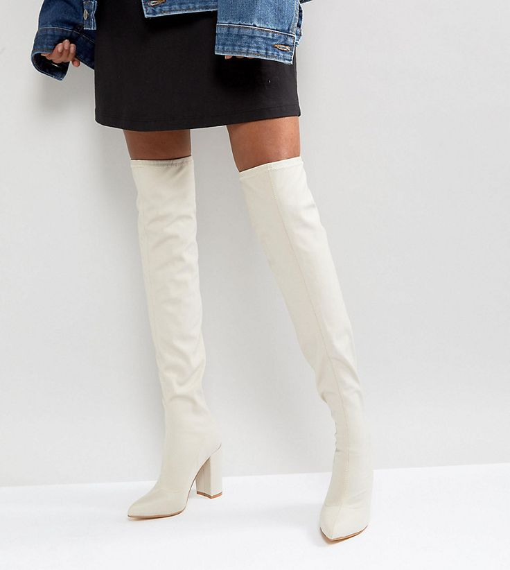Missguided Pointed Neoprene Over The Knee Heeled Boots - Beige