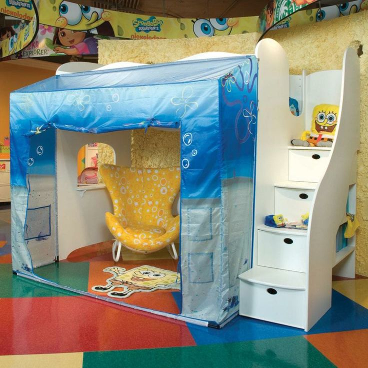 Funny Spongebob Squarepants Kids Room Designs Cheerful Spongebob Squarepants Loft Bed With Playroom Underneath In