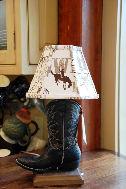 Lamp base made from a little boy's cowboy boot. Love it!