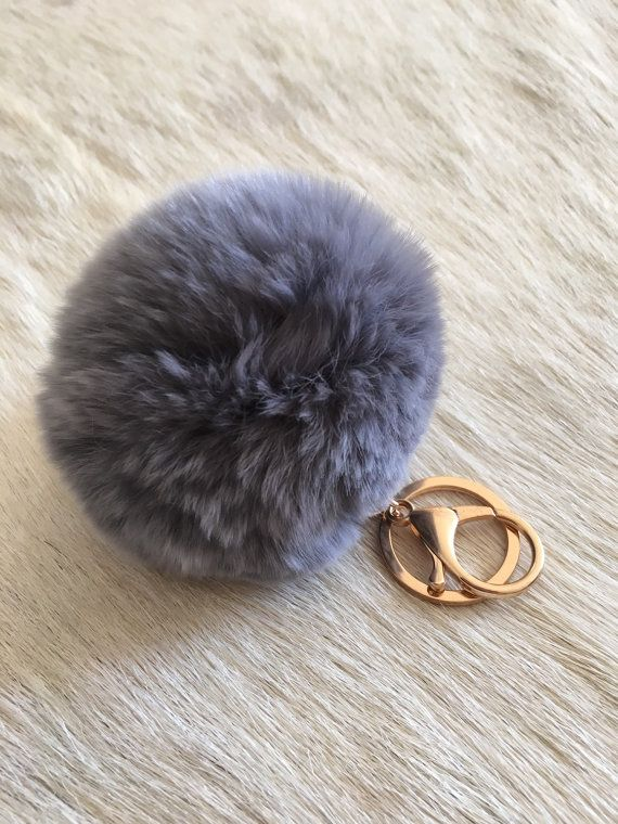 Cute Genuine Fur Ball Rabbit Keyring by SopisaJewelry on Etsy