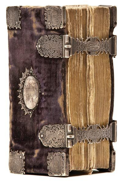 Book with brown velvet binding and decorative hinges