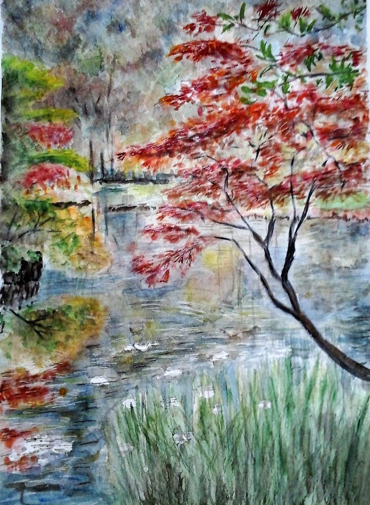 Red tree at the lake. Watercolour