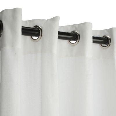 Sunbrella Outdoor Curtain with Nickel Grommets - Sheer Snow | Sunbrella | SKU: CURSNGRS-N | Outdoor Curtains | Factory Direct Curtains
