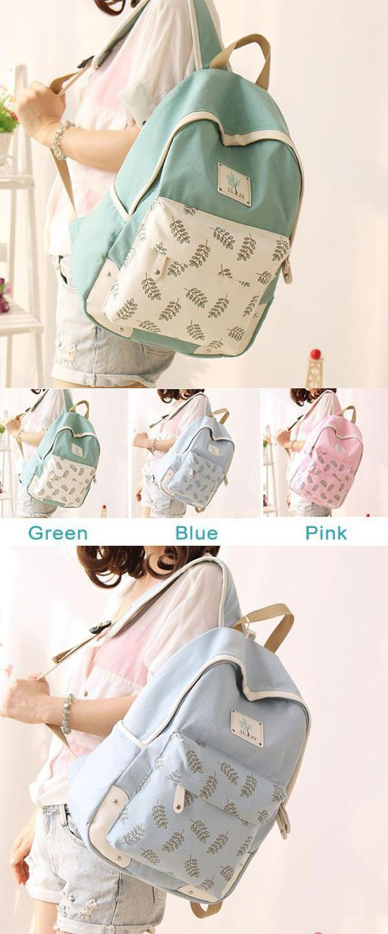 Which color do you like? Fresh Leaf School Rucksack Leaves Printed Lady College Canvas Backpack #leaf #lady #leaves  #backpack #bag #school #rucksack #leather #cute #canvas #trunk