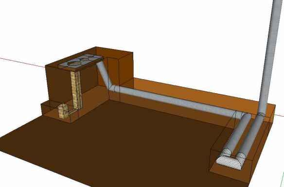 Rocket Stove Mass Heater: Designers claim that with an RSMH design you can heat your room  with up to 75% less wood, burning wood so completely that the exhaust is nearly pure steam and CO2, the heat from one fire can last for multiple days, and that the heat is used so efficiently that the final exhaust is cool enough to touch and condensing.