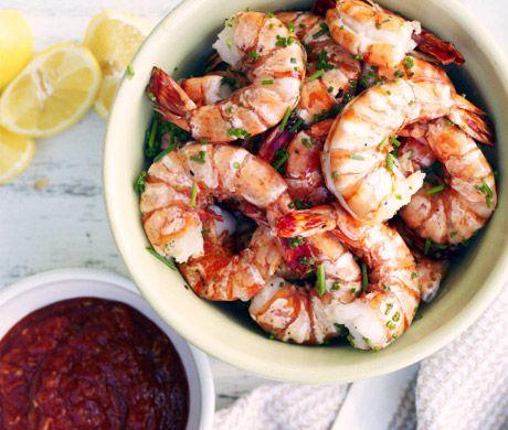 Grilled Shrimp Cocktail Recipe | Epicurious.com (Brining the shrimp ...