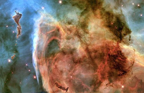 A detail of the Keyhole Nebula photographed by the Hubble Space Telescope. This photo from NASA's Hubble Space Telescope is of a portion of the Carina Nebula known as the Keyhole Nebula. It was compos