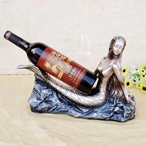 Technology characters wine racks Creative Mermaid resin wine rack Mediterranean style home Decoration