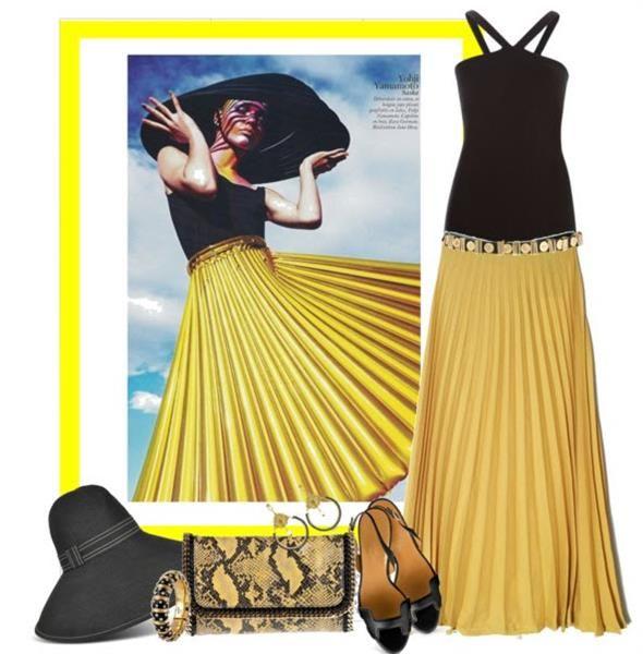 Плессированная длинная юбка с чем носить