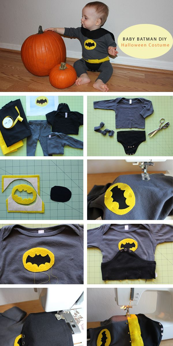 DIY Baby Batman Halloween Costume- could be used for any super hero that wears underwear on the outside.