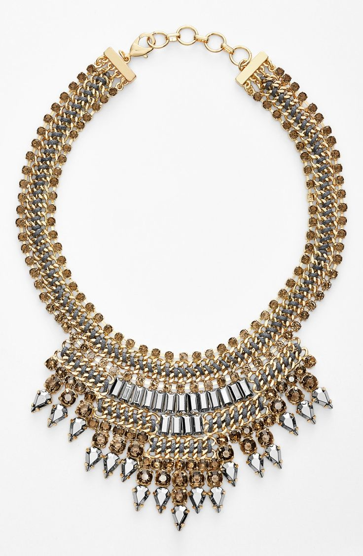 Love the shiny elements of this gold bib necklace.