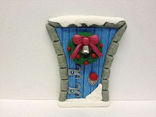 Christmas Clay Elf Fairy Door Winter Blue by MistsofAzura on Etsy