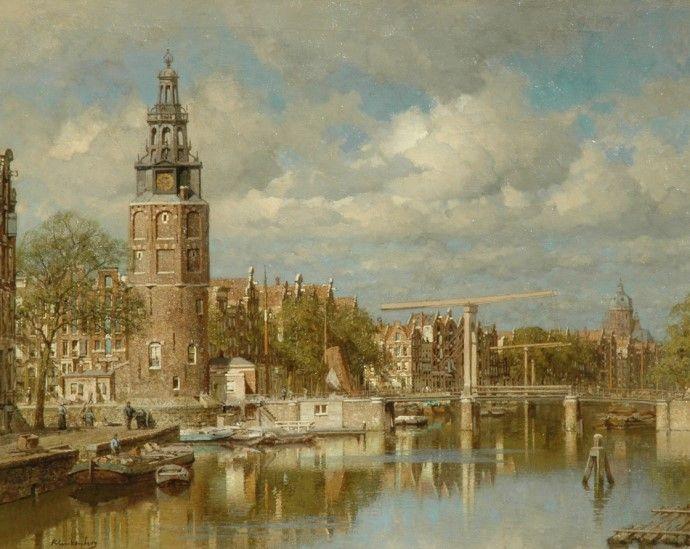 Johannes Christiaan Karel Klinkenberg (Den Haag 1852-1924) De Montelbaanstoren te Amsterdam - Kunsthandel Simonis en Buunk, Ede (Nederland).