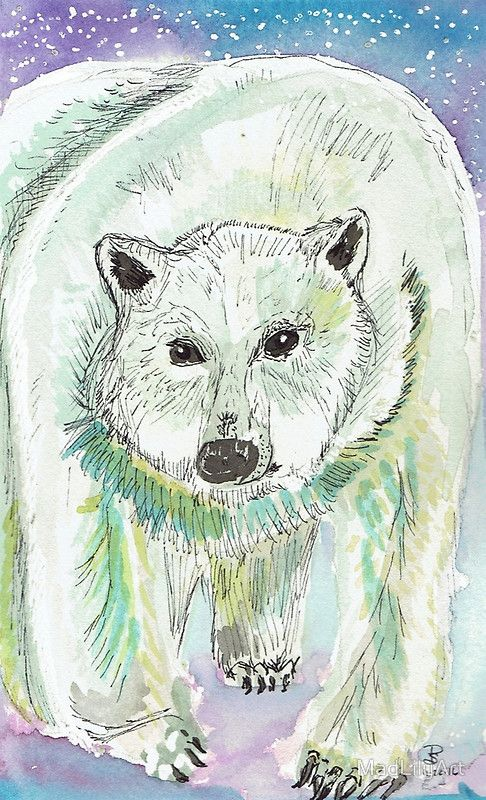 """Inspired by my nephew's favorite poem, which must be recited every time you open the fridge—here is a MadLilyArt Polar Bear. / Original Artwork: Watercolor and Pen and ink on 140 pound Arches Hot Press Watercolor paper. / """"There's a Polar Bear / In our Frigidaire— / He likes it 'cause it's cold in there. / With his seat in the meat / And his face in the fish / And his big hairy paws / In the bu..."""