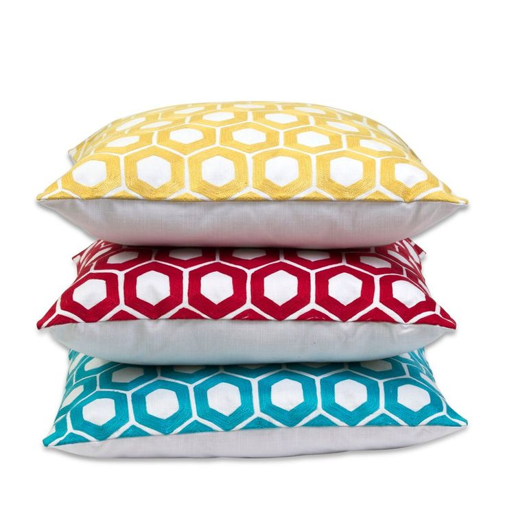 Primaries Hexagon Embroidered Cushions | Me & My Trend