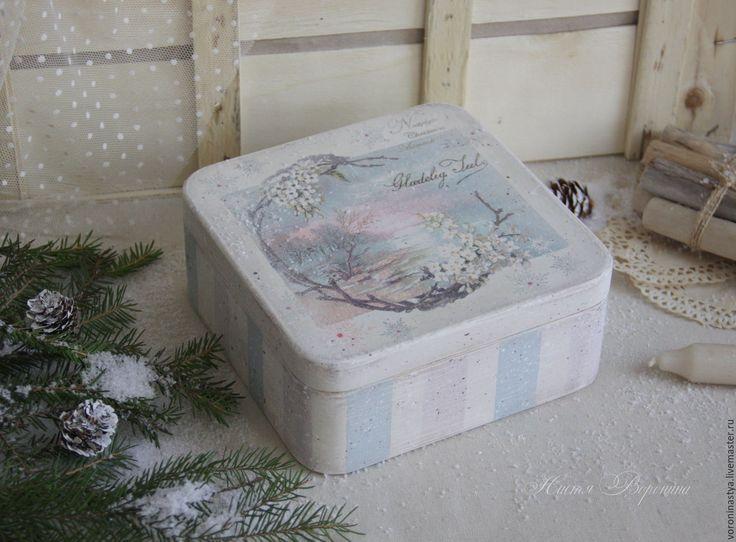 Купить Шкатулка Рождественские воспоминания - разноцветный, пастельные тона, пастельные цвета, розовый, голубой, зима