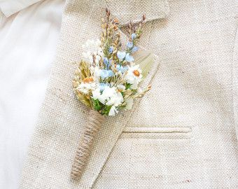 Rustic wedding boutonniere Men's buttonhole Groom lapel