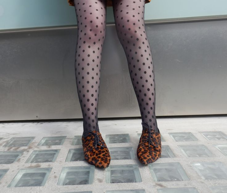 Spotty tights leopard print shoes