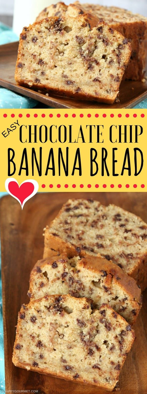 Easy Chocolate Chip Banana Bread recipe, quick one bowl homemade banana bread. Makes the best moist banana bread! #BananaBread #Bread #ChocolateChip #SnappyGourmet via @snappygourmet