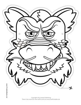 Chinese Dragon Mask to Color Printable Mask, free to