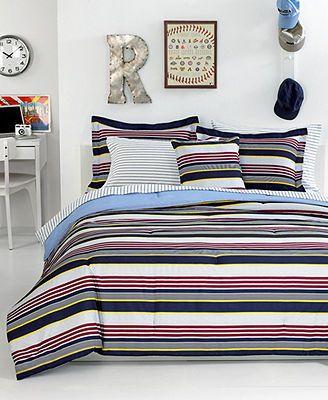 Closeout tommy hilfiger bedding brookfield stripe comforter sets kids room pinterest for Tommy hilfiger bedroom furniture