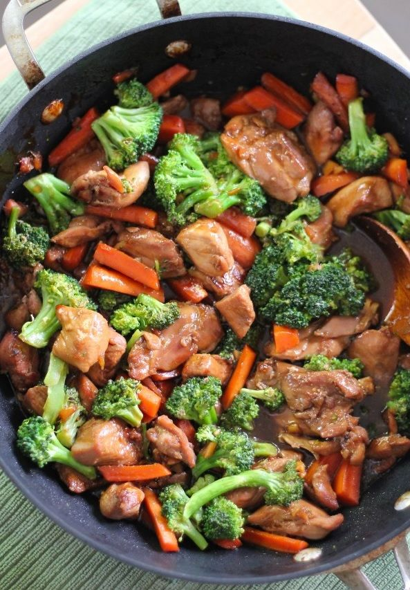 TERIYAKI CHICKEN WITH VEGETABLES INGREDIENTS: 2-3 lbs organic chicken breast, chopped 12-16 oz organic fresh broccoli 2 garlic cloves, you can also use ginger 4-5 large organic carrots, sliced Pepp...