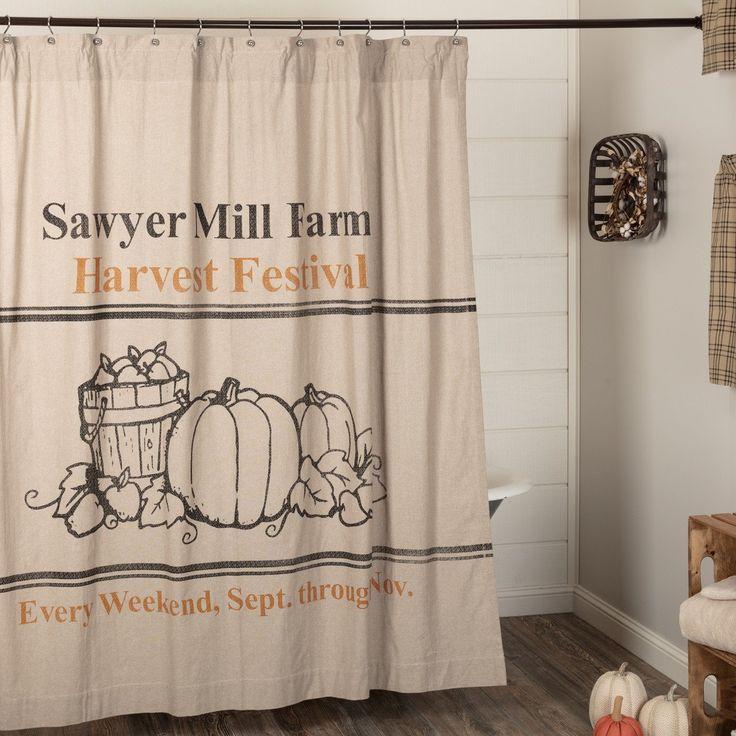 Stratton Shower Curtain Plaid Rustic Farmhouse Star Khaki//Burgundy Cotton Burlap