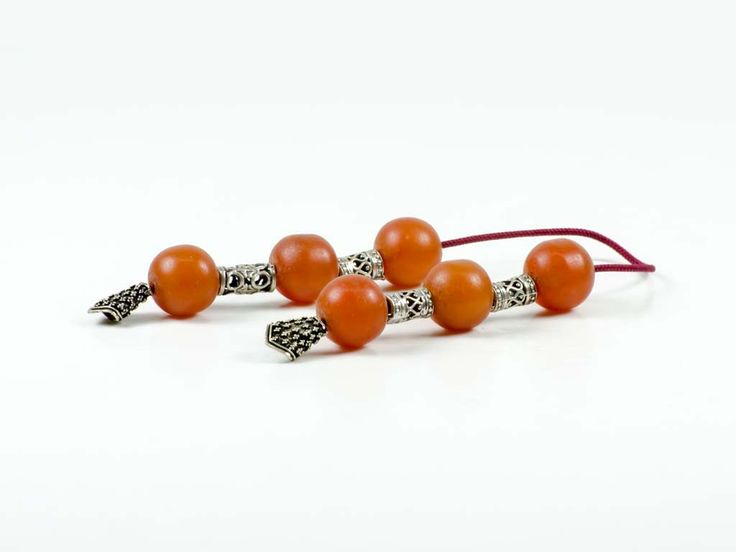 Vintage Sudurus Orange Mastic Greek Worry Beads Begleri 14x13mm 925