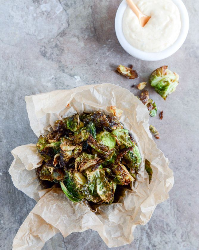 Fried Brussels Sprouts with Smoky Honey Aioli I howsweeteats.com