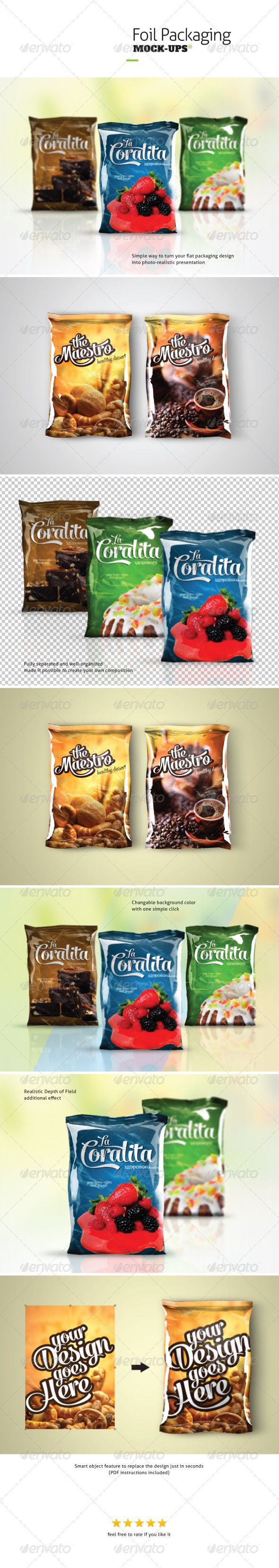 Foil Packaging Mock-ups by CodeID Foil Packaging Mock-ups Useful psd files to turn flat packaging design into photo realistic 3D display. They could be used to seve