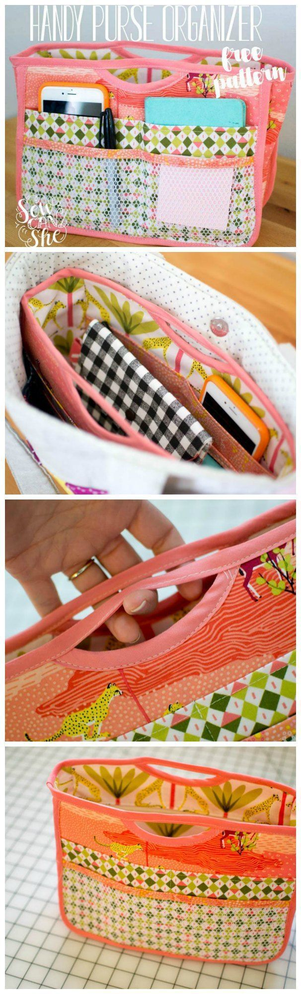Free sewing pattern for this smart purse organizer. I love using these to transfer all my essentials from one bag to another. Fun to sew!