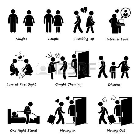 Couple Boyfriend Girlfriend Love Stick Figure Pictogram Icon Cliparts photo