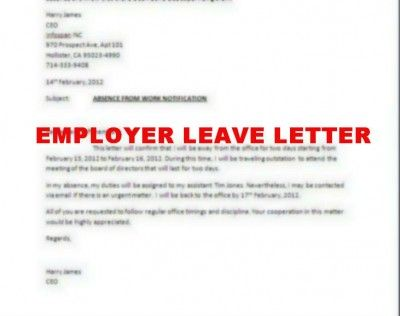 Letter of leave from employer sample leave of absence letter to employee letter of absence from school expin franklinfire co expocarfo Images