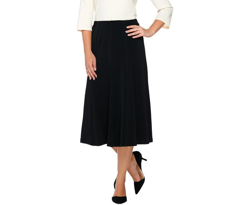 Susan Graver Liquid Knit Comfort Waist 8 Gored Pull-On Skirt