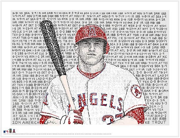 Mike Trout 2014 AL MVP Print by Philly Word Art