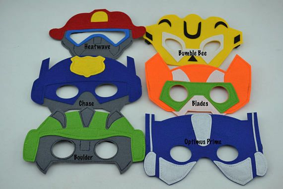 Transformer Rescue Bots Felt Mask Birthday Party Favor.