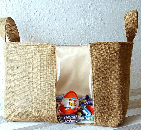 RETRO TRANSLUCENT HAMPER Sweets Box Spring Easter Jute Hessian