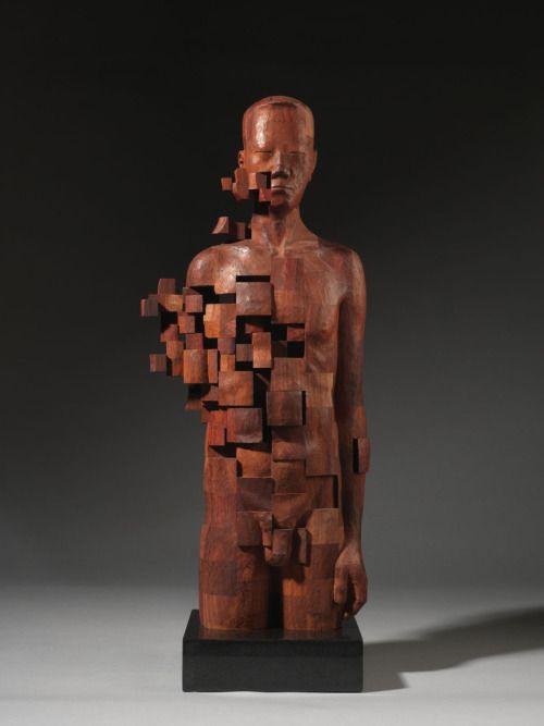 Best Hout Beelden Figuren Images On Pinterest - Taiwanese artist creates wooden sculptures that look like digital glitches