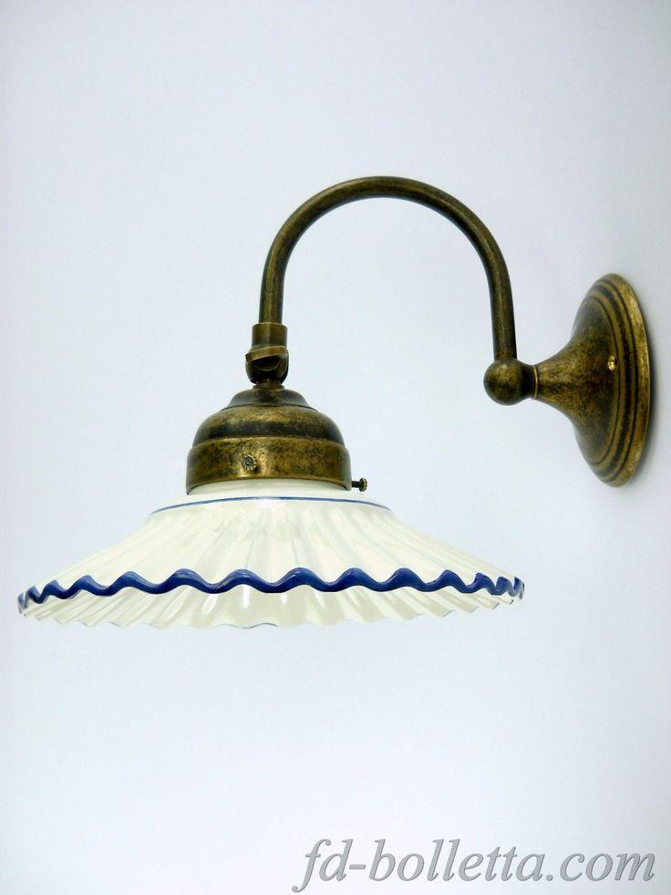 Applique ottone brunito,appliques,lampada parete liberty bagno,ceramica blu a27 | eBay