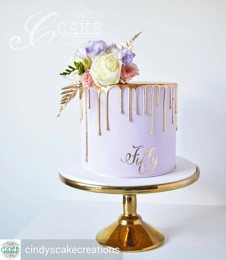 "6,514 Likes, 35 Comments - Cakes inspirations and videos (@cakes_ideas_videos) on Instagram: ""Gentee !!! @Regrann from @cindyscakecreations -  Lavender and dripping gold for a 50th…"""