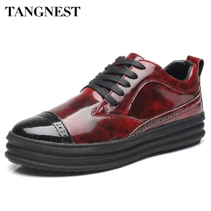 27.99$  Watch now - http://alijzl.shopchina.info/1/go.php?t=32802905394 - Tangent Brand Patent Leather Casual Men Shoes NEW Spring Lace Up Platform Flats Men British Style Rubber Shoes Man  XMR2616  #aliexpressideas